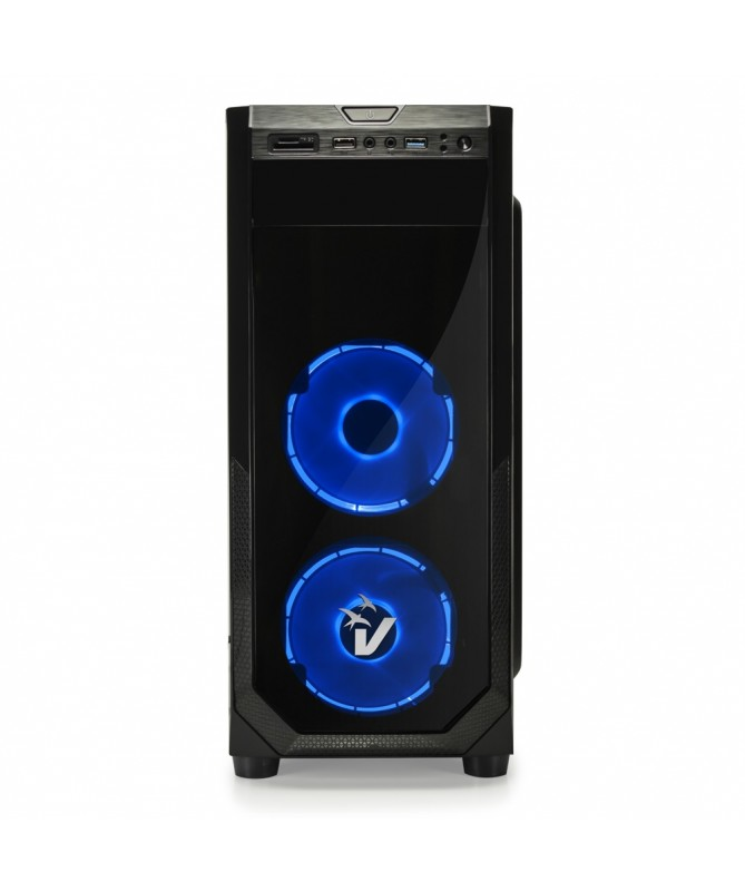 Case Gaming Atx GS-0385BL BlackDoom con ventole HALO LED Blu