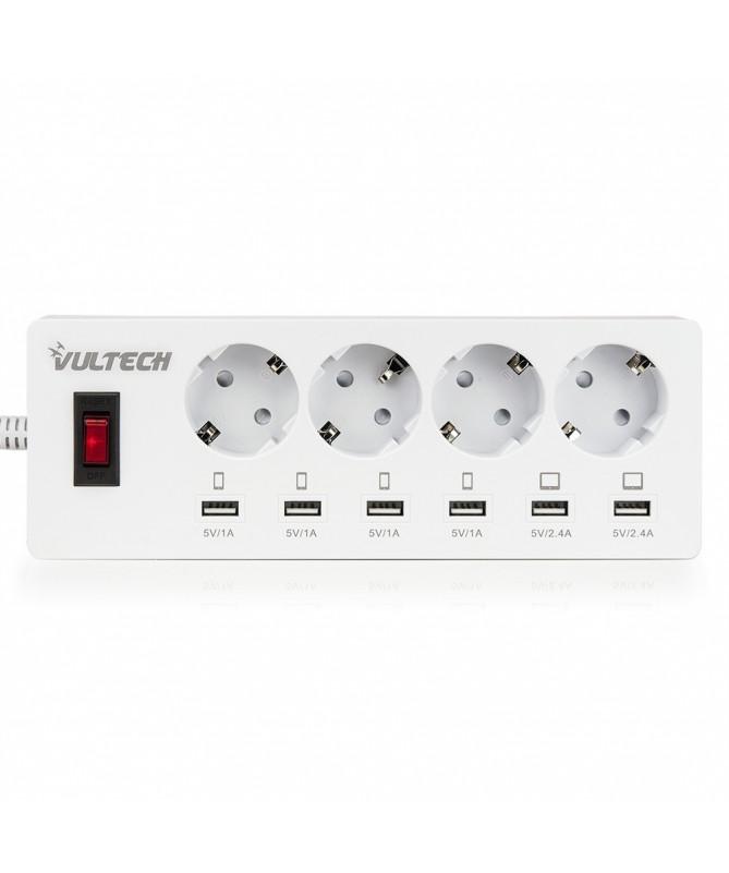 Multipresa con 4 Posti di Prese Elettriche Schuko e 6 USB Porte di Ricaria