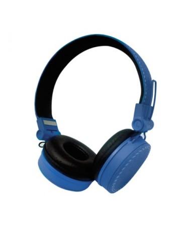 Cuffie Headphones Super Bass con microfono e regolatore volume - Blu