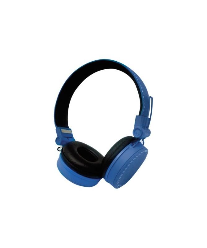 Cuffie Headphones Blu Con Microfono e Regolatore Volume