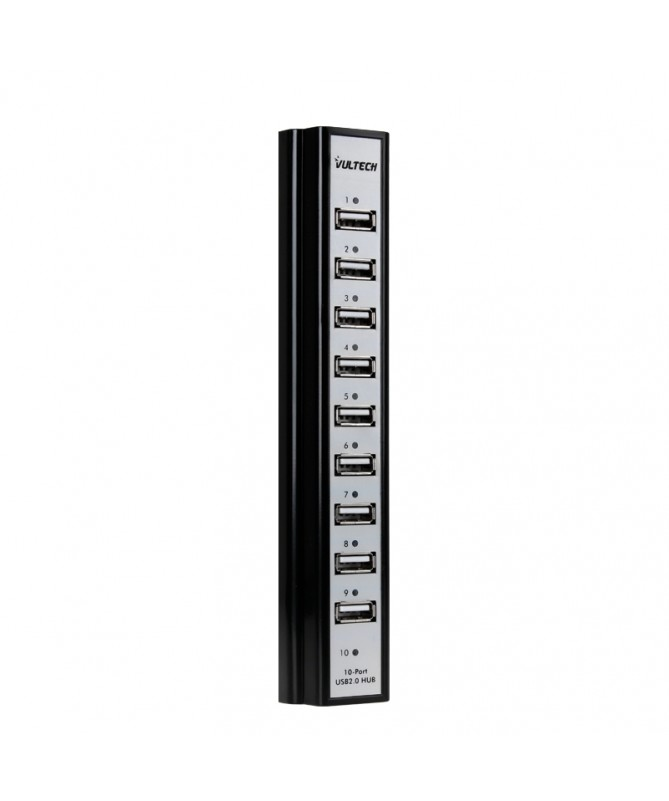 Hub 10 Porte USB 2.0 con Alimentatore 5V 3,5A - Nero